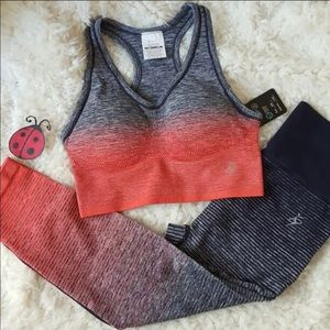 Pants - Ombré Gray-Coral Workout Sports Bra Leggings set